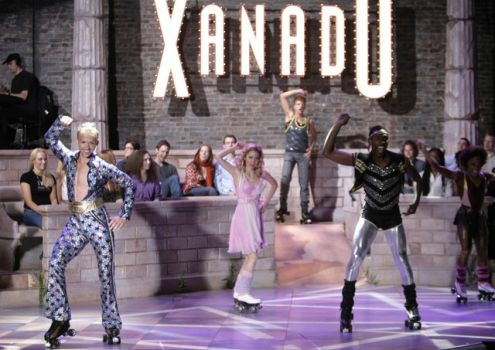 "** FOR USE WITH AP LIFESTYLES ** The cast of ""Xanadu"" performs the closing number on roller skates during a dress rehearsal of the musical in New York, Tuesday, May 22, 2007. The new Broadway show is based on the 1980 Olivia Newton-John film. (AP Photo/Seth Wenig)"