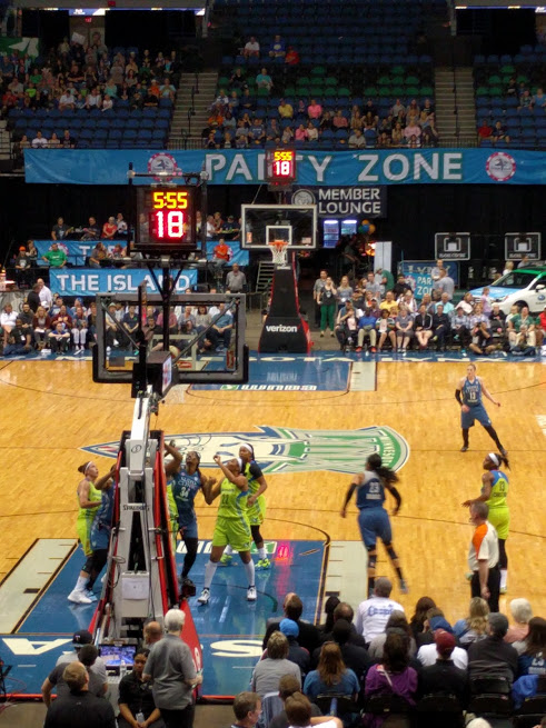 Across the street from First Ave is the Target Center, so after we bid adieu to the stars of the great, we attended our first-ever Lynx game with pal Kirsten and a crew of her high school charges. YOU GUYS, WE WENT TO A SPORTS!