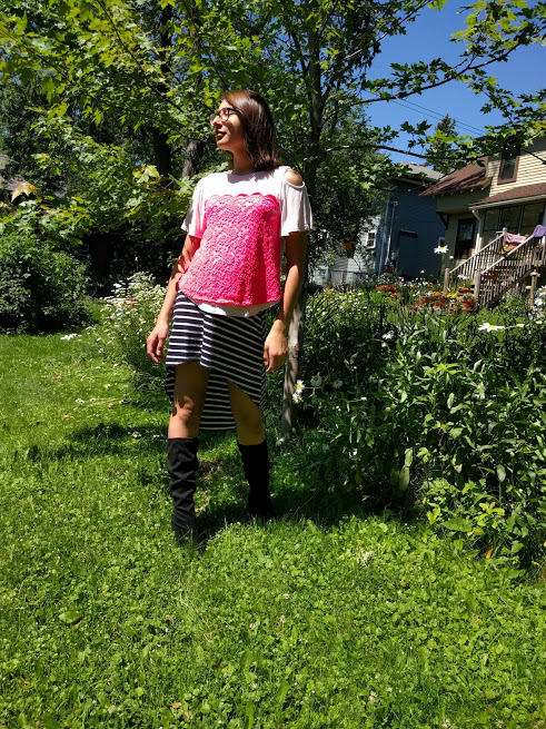 I happen to have a pair of awesome suede wedge boots and a niece capable of rocking them. We enjoyed an extended photo shoot on the grounds.