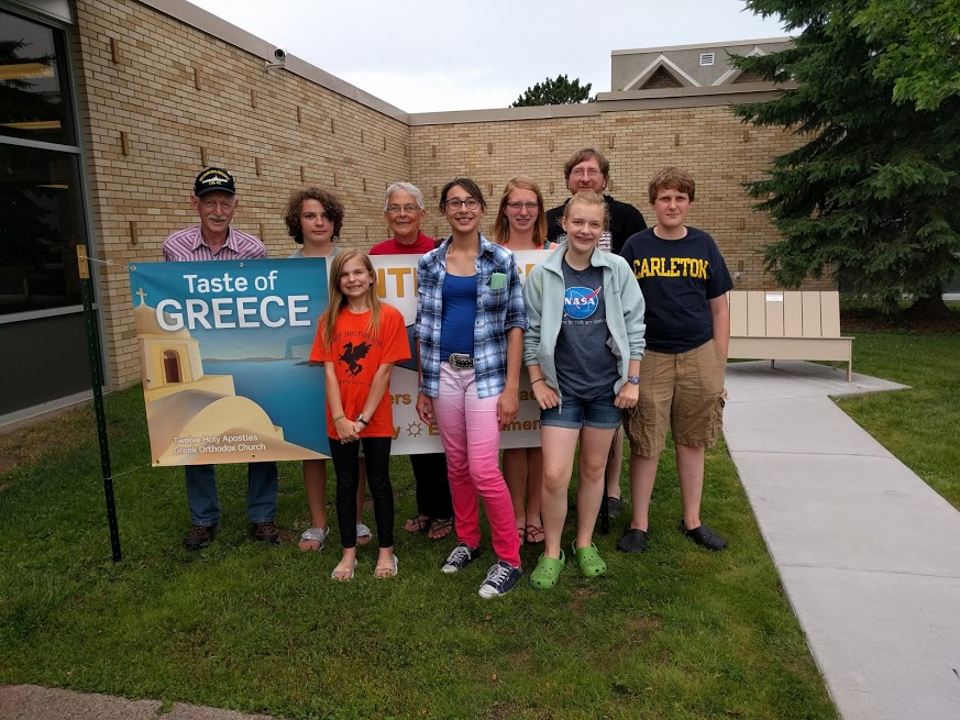 The Camp Grandma crew at a local school for the annual Taste of Greece food festival. Spanakopita for everyone!