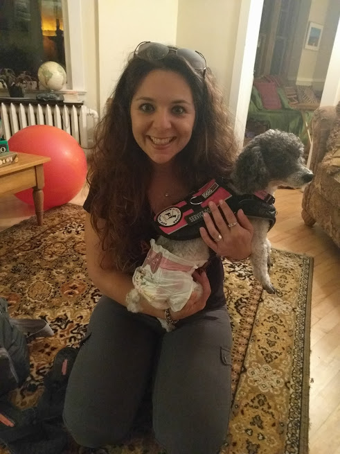 AND THEN, the day my brother and Sofia left, our beloved friends from Turkey arrived! The sheets on their beds were still warm from the dryer, I tell you. So here's Ileyn with diaper-wearing doggie Angel. In real life, they both fulfill the tantalizing promise of this picture.