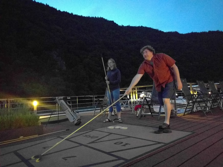 Shuffleboard at dusk! I know these photos make it seem like we played a lot of shuffleboard, but the truth is that the top deck was closed for much of the journey so that passengers weren't decapitated by low-hanging bridges.