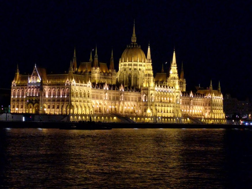 """The final night of the cruise, the staff handed everyone a shot of """"Palinka"""" (it'll kill what ails you) and took us on an after-dark chug up and down the river, to see all the buildings lit up."""