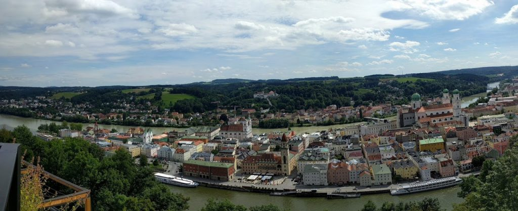 During the afternoon in Passau, Germany, our family of four went on a walk down the river and up an impressive hill. This view was the payoff.